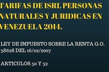 TARIFA DE  ISLR 2014