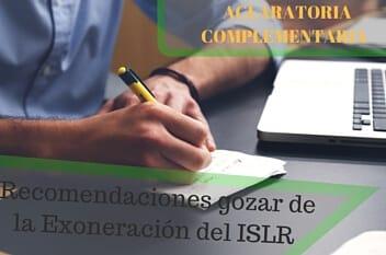 Recomendaciones  para gozar de la Exoneración del ISLR