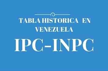 Tabla historica del IPC – INPC en Venezuela